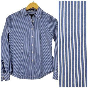 Talbots Button Down Pinstripe Shirt Women's 2 Blue